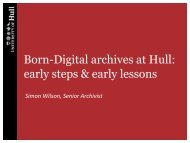 Born-Digital archives at Hull - Hull History Centre