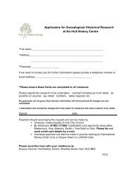 Application for Genealogical - Hull History Centre
