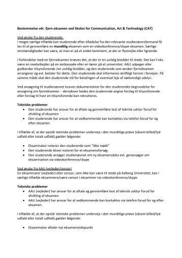 Forslag til bestemmelse omkring video/skype konference ved ...