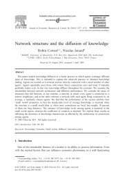 Network structure and the diffusion of knowledge
