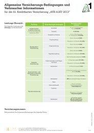 Allgemeine Versicherungs-Bedingungen und Verbraucher ... - A1.net