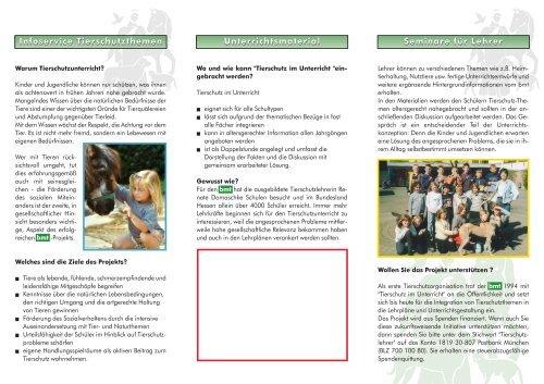 Seminare für Lehrer Unterrichtsmaterial Infoservice Tierschutzthemen