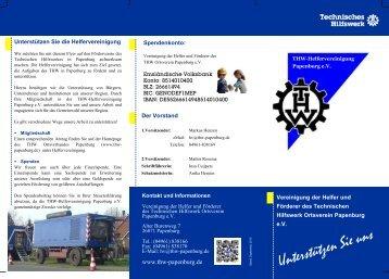 Flyer der Helfervereinigung - THW OV Papenburg