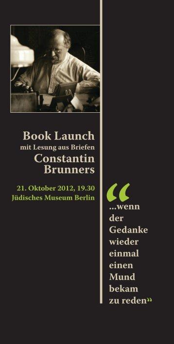 aus Brunners Briefen - Constantin Brunner
