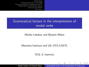 Grammatical factors in the interpretation of modal verbs