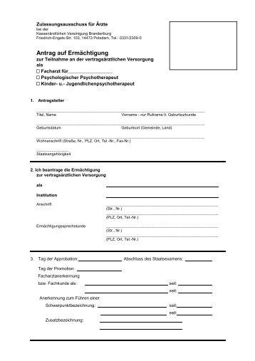 Antrag auf Ermächtigung - Kassenärztlichen Vereinigung ...