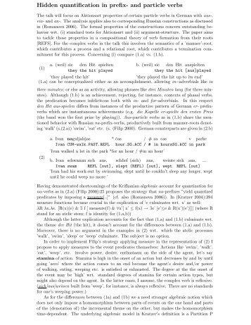 Hidden quantification in prefix- and particle verbs