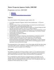 Master Prospectus Japanese Studies, 2008/2009 Programme ...