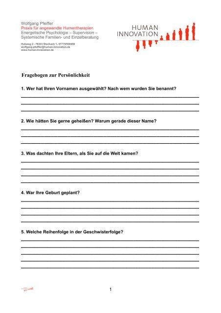 Fragebogen zur Persönlichkeit - Human-Innovation