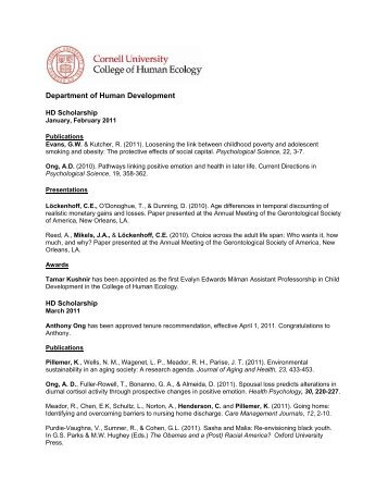 2011 - College of Human Ecology - Cornell University