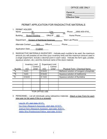 PERMIT APPLICATION FOR RADIOACTIVE MATERIALS