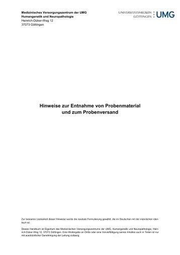 Hinweise zur Entnahme von Probenmaterial-1.1-0112 - Institut für ...