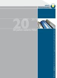 Broschüre 20 Jahre solaris FZU gGmbH Sachsen