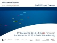 Wetterbericht um 19.25 Uhr - media sales & services GmbH