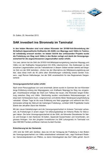 SAK investiert ins Stromnetz im Taminatal