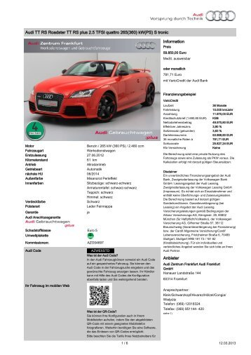 Audi TT RS Roadster TT RS plus 2.5 TFSI quattro 265(360) kW(PS ...