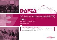 37. DATENSCHUTZFACHTAGUNG (DAFTA) - DATAKONTEXT