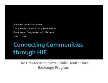 Connecting Communites Through HIE - Minnesota Department of ...