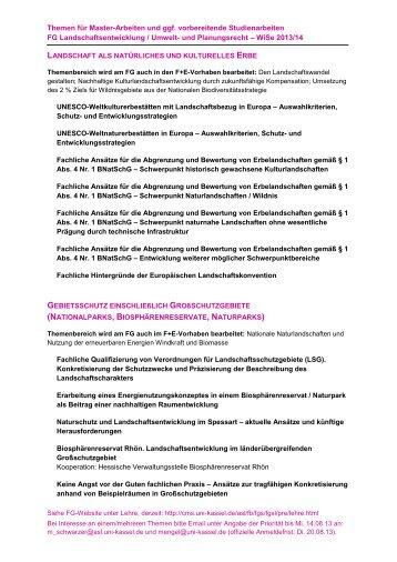 Themen für Master-Arbeiten und ggf. vorbereitende Studienarbeiten ...