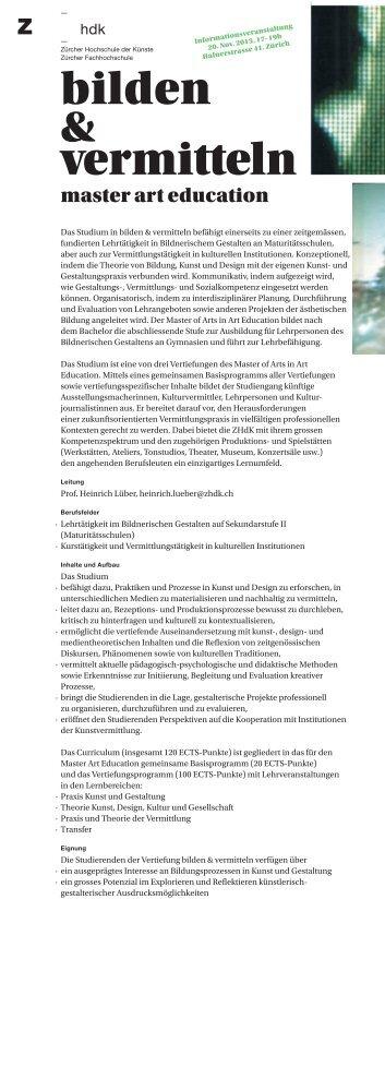 Flyer bilden & vermitteln - Zürcher Hochschule der Künste