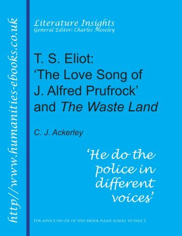 diction in the love song of j alfred prufrock The love song of j alfred prufrock and other poems has 17,076 ratings and 252 reviews let us go then, you and i, when the evening is spread out against.