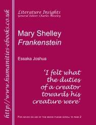 Mary Shelley: Frankenstein ISBN 978-1-84760-017-2 - Humanities ...