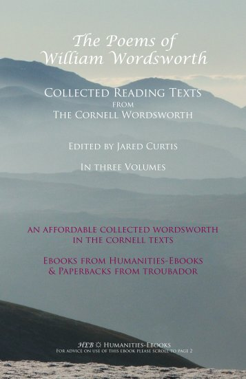 The Poems of William Wordsworth - Humanities-Ebooks