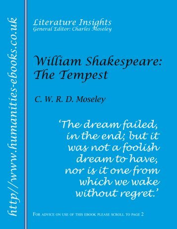 The Tempest ISBN 978-1-84760-030-1 - Humanities-Ebooks