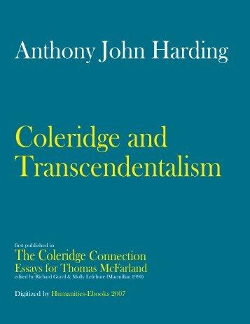 Coleridge and Transcendentalism - Humanities-Ebooks