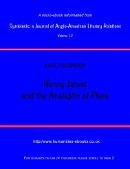 Henry James and the Analeptic of Place - Humanities-Ebooks