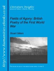 Fileds of Agony: British Poetry of the First World War ISBN 978-1 ...