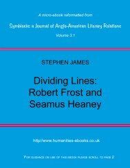 Robert Frost and Seamus Heaney - Humanities-Ebooks