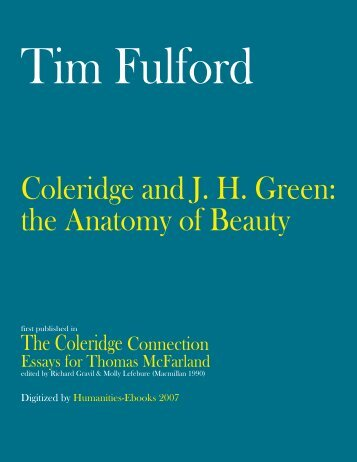 Coleridge and J H Green: the Anatomy of Beauty - Humanities-Ebooks