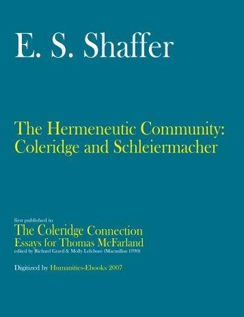 Coleridge and Schleiermacher - Humanities-Ebooks