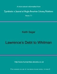 Lawrence's Debt To Whitman - Humanities-Ebooks
