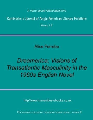 Dreamerica; Visions of Transatlantic Masculinity in the 1960s ...