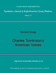 Charles Tomlinson's American Voices - Humanities-Ebooks