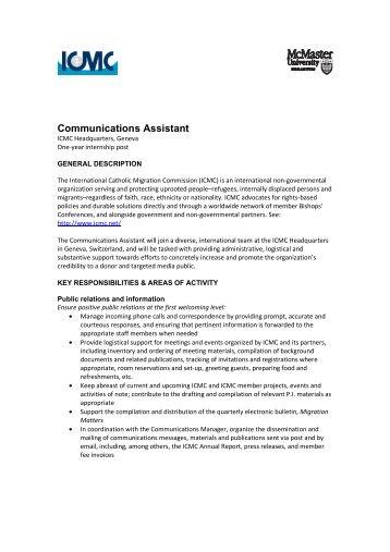 Communications Assistant Job Description