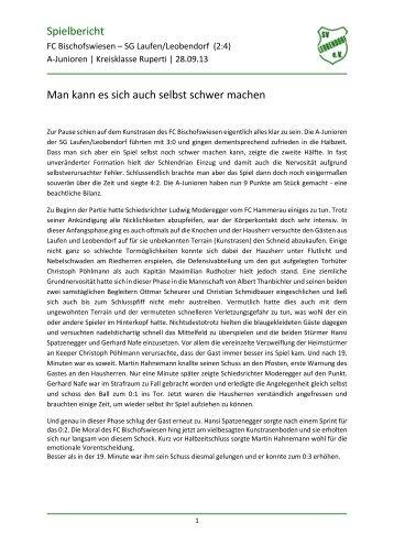 Spielbericht FC Bischofswiesen - SG Laufen ... - SV Leobendorf