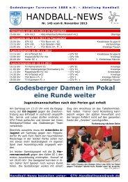 Handball-News Nr. 145 - beim Godesberger Turnverein 1888 eV