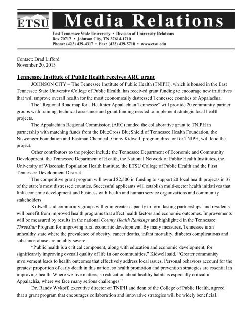 Tennessee Institute of Public Health Receives ARC Grant - East ...