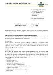 Tätigkeitsbericht - Jahr 2008 - Humanity's Team Deutschland eV