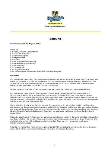 Satzung - Humanity's Team Deutschland eV