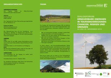 Dialogforum Erneuerbare Energien in Tourismusregionen