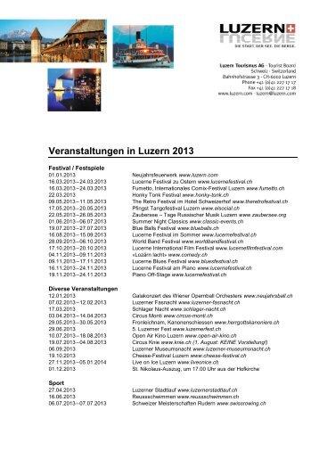 Veranstaltungen in Luzern 2013 - Hotel Bellevue Luzern