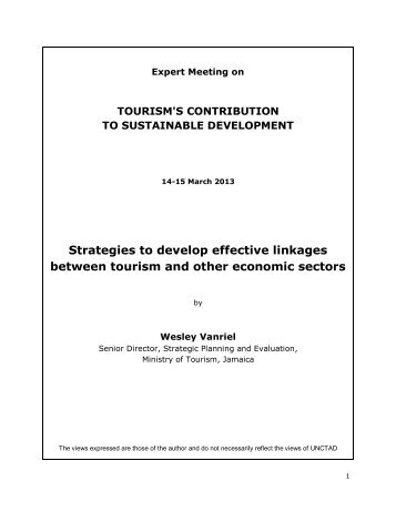 Strategies to develop effective linkages between tourism ... - unctad