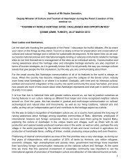 Speech of Mr Nazim Samadov, Deputy Minister of Culture and ...