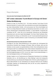 DZT erstes nationales Tourist Board in Europa mit Green ... - Germany