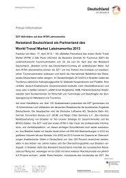 Reiseland Deutschland als Partnerland des World Travel ... - Germany