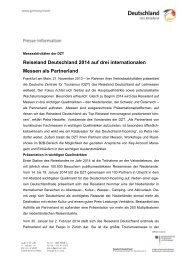Reiseland Deutschland 2014 auf drei internationalen ... - Germany